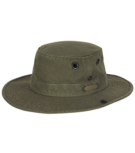 Tilley Endurables T3 Wanderer Cotton Duck Medium Brim Olive Hat, 7 1/2 ()