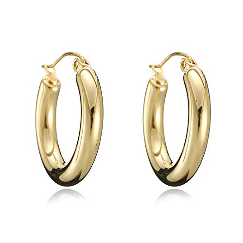 mika 18k Gold Plated Hoop Earrings 4mm Tube Classic Polished Hoop Earrings for Women Girls (Gold)