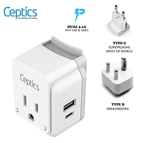 India, Maldives Travel Plug Adapter Set by Ceptics, Safe Dual USB & USB-C - 2 USA Socket - Compact & Powerful - Use in Pakistan, Nepal, Bangladesh - Includes Type D, Type C SWadAPt Attachments