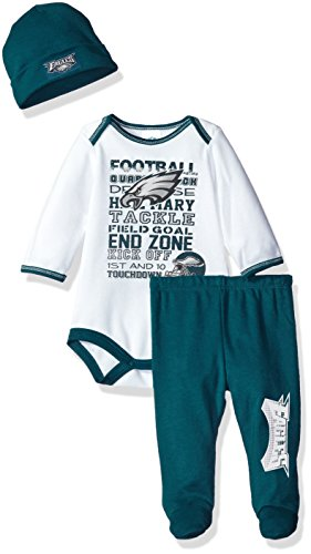 NFL Philadelphia Eagles Bodysuit, Pants & Cap Set, 3-6 Months, Green