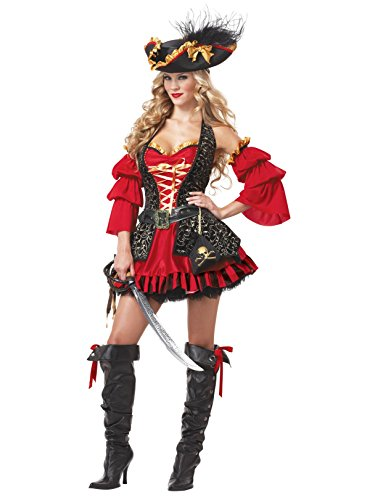 California Costumes Women's Eye Candy - Spanish Pirate Adult, Black/Red, Large -