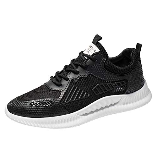 (LUCAMORE Men's Flyknit Breathable Casual Sneakers Lightweight Athletic Tennis Walking Running Shoes Black)
