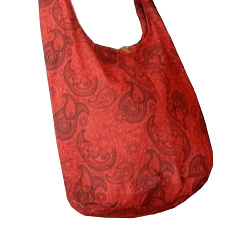 BTP! Thai Cotton Hippie Hobo Sling Crossbody Bag Messenger Purse Paisley Print Large (Red PL12)