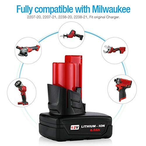 12-Volt Lithium-ion Battery for Milwaukee 48-11-2411 Lithium 2Pack 6.0Ah m 12 Battery for Milwaukee