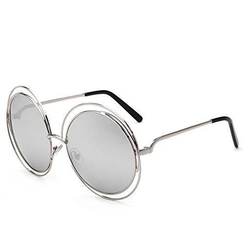 miroir lunettes rond Lunettes vintage Argent en à soleil de de cadre hommes grand métal soleil 7xpq1