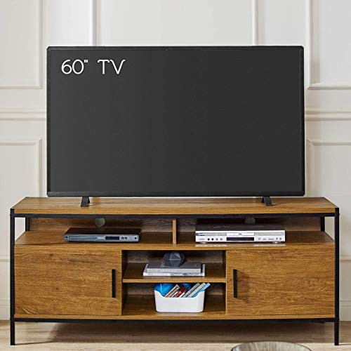 Wide Entertainment Center TV Media Stand by CAFFOZ Furniture Designs with Two Doors and Storage Shelves Sturdy Easy Assembly Brown Oak Wood Look Accent Furniture with Metal Frame