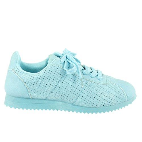 CM Blu Tennis Perforato Piatto 2 Moda Tacco Donna Sneaker Scarpe Angkorly Tacco qgUWvwtPAv