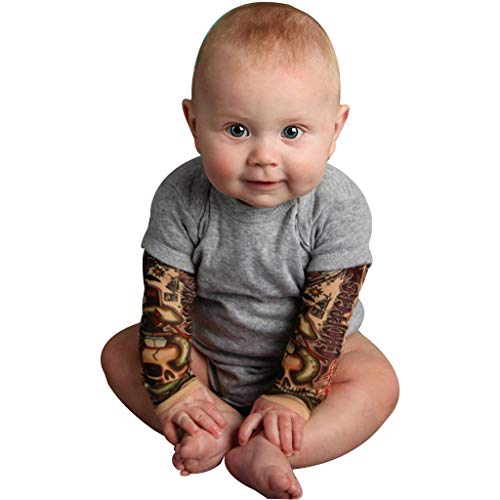 Clothful  for 0-2 Years Old Kids Outfits,Newborn Baby Boy Tattoo Printed Long Sleeve Patchwork Romper Autumn Bodysuit (18-24 Months, Gray)