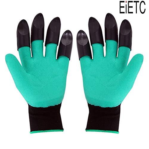 EIETC Garden Genie Gloves, Waterproof Garden Gloves with Claw For Digging Planting, Best Gardening Gifts for Women and Men (green)