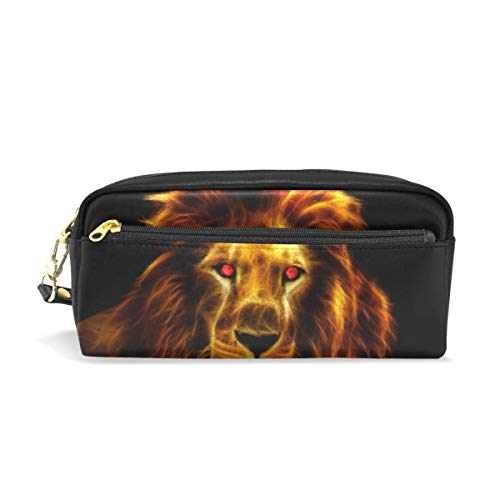 Students Pencil Case Pouch African King Lion Red Eyes Orange PU Leatehr Organizer Pen Holder Box Women Purse Wallet Waterproof Large Capacity Hand Mini Cosmetic Makeup Bag ()
