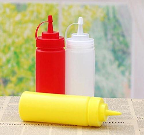 MHwan Bouteilles de Sauce /à Presser Moutarde Presser Les Bouteilles 2 pi/èces Bouteilles compressibles /à 4 Trous avec couvercles /à Capuchon Bouteilles de Sauce sans Fuite sans BPA pour Ketchup