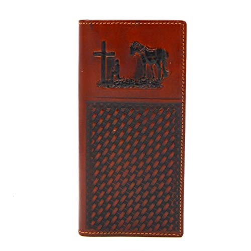 Genuine Leather Praying Cowboy Tooling Western Bi-Fold Man's Long Wallet (brown)