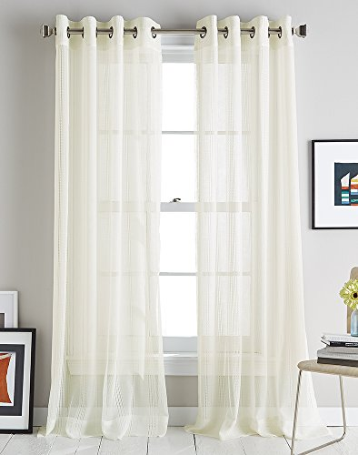 DKNY Modern Soho Stripe Grommet Window Curtain Single (Ivory Stripes Curtain)