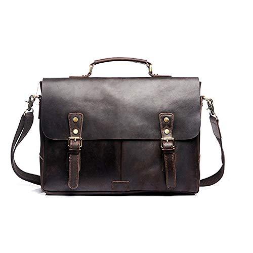 MAODATOU Men's Briefcase Vintage Men's Flap Brown Handmade Leather Briefcase Best Laptop Messenger Bag Fit Business Travel (Color : Dark Brown)