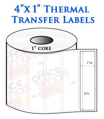 4x1 Thermal Heat Tranfer Labels for Zebra GC420t GK420t G...