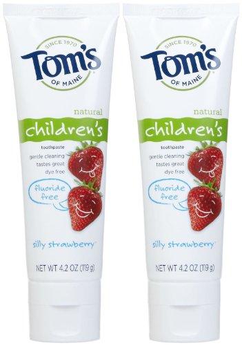 Tom's of Maine Fluoride Free Children's Toothpaste, Silly Strawberry - 4.2 oz - 2 pk - Fluoride Silly Strawberry