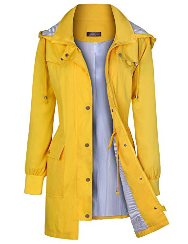Bloggerlove Women's Raincoats Windbreaker Rain Jacket Waterproof Lightweight Outdoor Hooded Trench Coats S-XXL