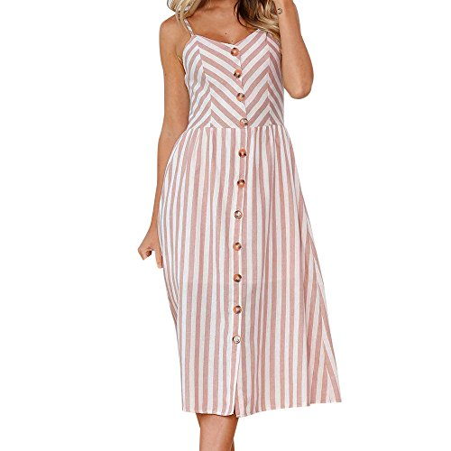 Chaofanjiancai Women's Dresses - Summer Boho Dress Floral Print Button Down A-Line Midi Dress with Belt and Pockets Pink