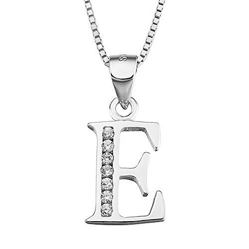 S925 Sterling Silver Cubic Zirconia 26 Letters Alphabet Personalized Charm Pendant Necklace (Alphabet E)