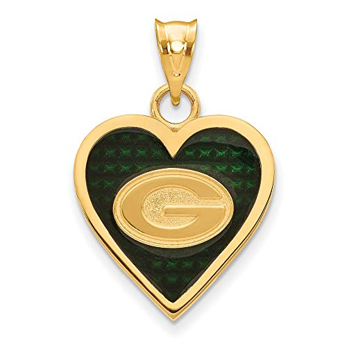 (FB Jewels Sterling Silver Gold Plated Green Bay Packers Enameled Heart Pendant )
