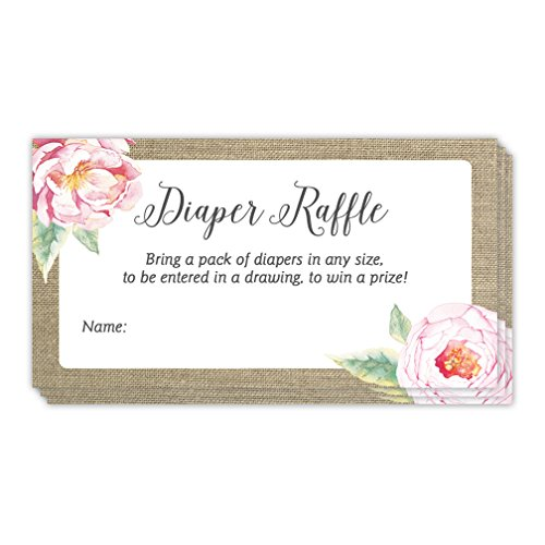 Diaper Raffle Tickets Rustic 48 Pack Baby Shower Infant Girl Gender Guest Invitation Inserts Pink Flowers Fill in Blank Name Cards Party Game Prize Drawing Newborn Daughter 3.5 x 2 Inches Digibuddha -