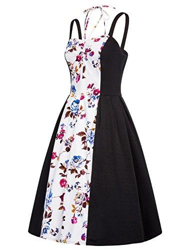 Women Dress Belle Strap s 3 Sweetheart Floral Party Floral Cocktail Poque Vintage H6ww5nSUq