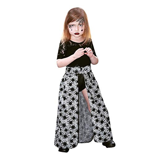 KaiCran 3Pcs Outfits Set Long Sleeve Lace Top+Spider Web Dress+Black Shorts Fashion Clothes (Black, 110) ()