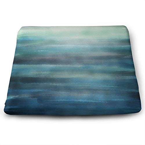 - Seat Cushion for Office Chair, Square Seat Cushion - Aqua Teal Blue Sea Ocean Ombre Watercolor Chair Pads Memory Foam Filled for Patio,Office,Kitchen,Desk,Travel,Kids,Yoga,Truck Driver,Car