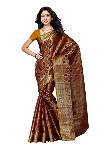 anchipuram Silk Saree with Blouse,Color:Chocolate(3190-164-CHO) ()