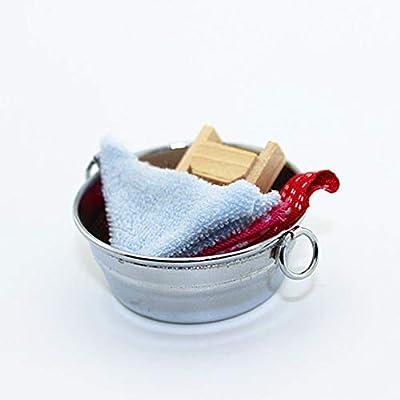 zhenleisier Dollhouse Model,Dollhouse Accessories Miniature Washtub Cloth Washboard Mini Bathroom Decor Kids Handmade Educational Toy: Kitchen & Dining