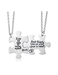Udobuy2 Pcs Silver Best Friends No Matter Where Compass Necklaces Set Heart for Teen Girls BFF Friendship Necklaces