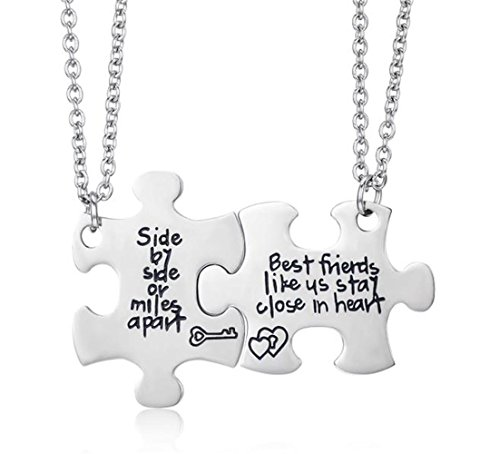 Udobuy2 Pcs Best Friends Side By Side Or Miles Apart Best Friend Necklaces Set Heart Best Friend Gifts for Teen Girls BFF Friendship Necklaces (Pizza Friend Necklace)