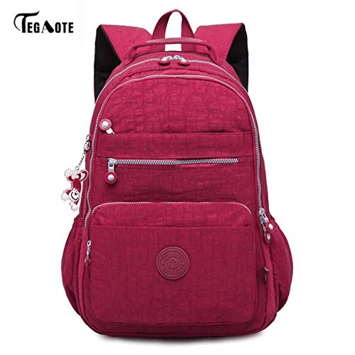 Dark rouge-32CMX14CMX42CM 1604  QWKZH Sacs à Dos Laptop sac à dos femmes voyage sacs Multifunction sac à dos imperméable Nylon School sac à doss for Teenagers