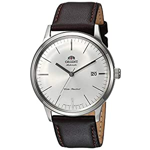 Orient Men's '2nd Gen. Bambino Ver. 3' Japanese Automatic Stainless Steel and Leather Dress Watch, Color:Brown (Model: FAC0000EW0)