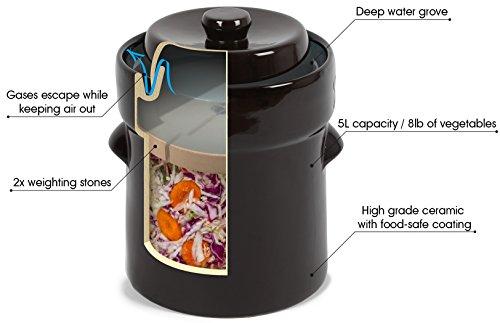 Kenley Fermentation Crock Jar 5 Liter Amp Pounder 1 3