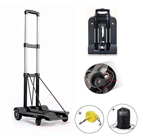Folding Hand Truck, 75 Kg/165 lbs Heavy Duty Solid Construction Utility Cart Compact and Lightweight for Luggage, Personal, Travel, Auto, Moving and Office Use - Portable Fold Up Dolly(4 wheel-roate) by ROYI