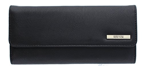 Kenneth Cole Reaction Womens Saffiano Clutch Wallet Trifold W Coin Purse (BUFF BLACK) (Wallet For Women Kenneth Cole)