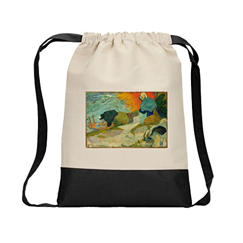 Washerwomen In Arles (Gauguin) Canvas Backpack Color Drawstring Bag - Black (Canvas Arles)