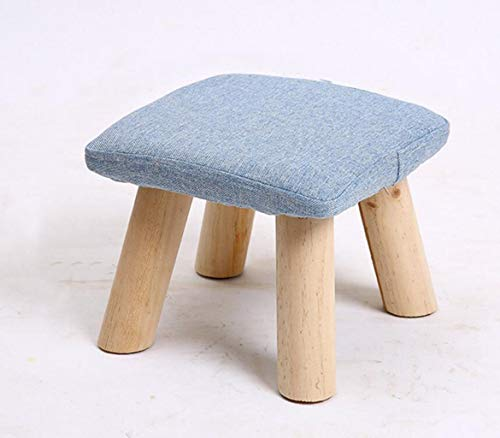 FGSJEJ Large Footrest Stool Upholstered Footstool Linen Round Pouffe Chair Multifunction with Removable Stool Folding Chair Office Computer Back Rest Chair (Color : Blue, Size : One Size) ()
