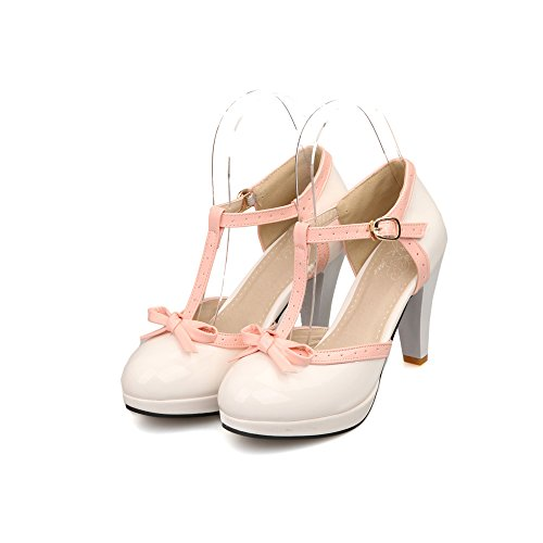 Lucksender Fashion T Strap Bows Womens Platform High Heel Pumps Shoes 7.5B(M)US (1/2 Inch Sexy Platform)