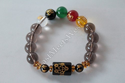 Men's Chinese Consecrated Kai Guang Blessed Mixed Colored Nature Crystal 5 Elements Bracelet Bangle Feng Shui Protection Amulet