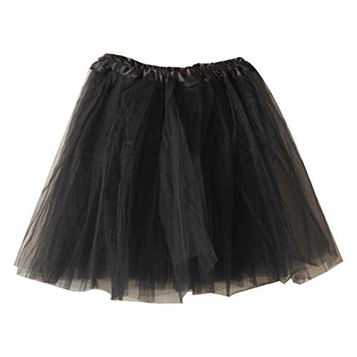 Women's Mini Tutu Skirt Elastic Layered Tulle Costume Party Dance (Black Mini Skirt Halloween)