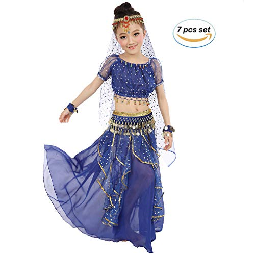 Girls Belly Dancing Costume Birthday Party Fancy Dress, Kids Cosplay Arabian Princess Dancewear Shiny Carnival Outfit (L, Dark-Blue)