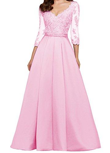 Hochzeitsgäste 3 linie Abendkleider for Ärmeln mit Spitze 4 Ballkleid Damen LuckyShe Rosa Lang A txqvw8nHA