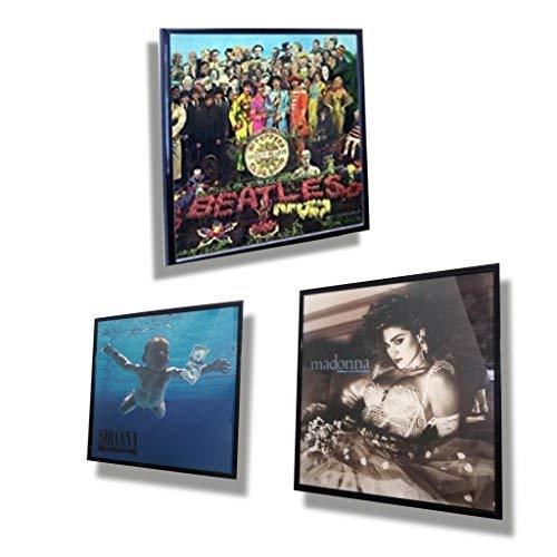 /32/x 32/cm en aluminium/ DISCOCLOCK Set de 3/pi/èces/ /Cadre carr/é noire pour disques en vinyle/ /Fabriqu/é en Italie