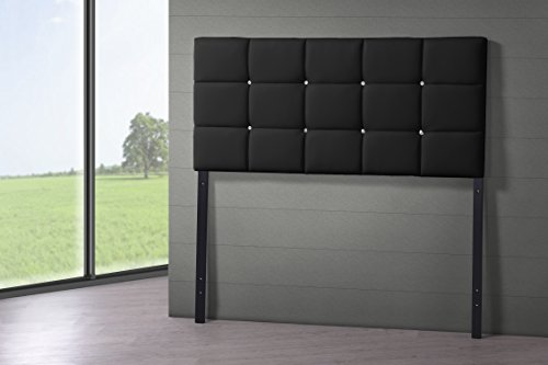 Baxton Studio Bordeaux Modern & Contemporary Faux Leather Upholstered Button Tufted Column Headboard, Queen, Black