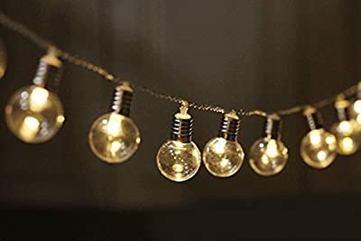 KINGCOO Solar Bulb String Lights, Waterproof 2.5M 20 LED Plastic Solar Bulbs Fairy Lights with 2 Modes Solar Garden Lights for Outdoor Christmas Weddings Party Decorations
