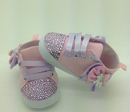 Personalizado Bebé niña rosa Unicorn 6/9Meses. Cuna Cochecito de bebé zapatos Crystal Bling Rhinestone Diamantes de Campanilla Bling tamaño 6/9Meses. Primera Walker.