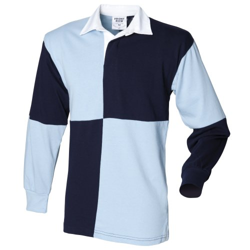 Front Row Quartered Rugby Sports Polo Shirt (M) (Navy/Sky (White collar)) Front Row Rugby Shirt