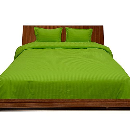 Discount Laxlinen 550 Thread Count 100% Egyptian Cotton Super Quality 1PC Flat Sheet(Top Sheet) California King/ Western King Size, Parret Green Stripe